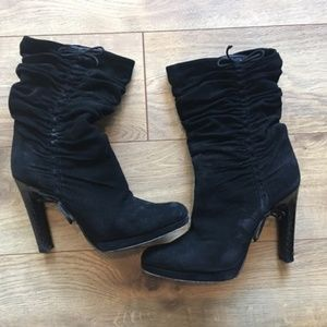 Sexy Gucci Ruched Black Boots Reptile Heel 8.5
